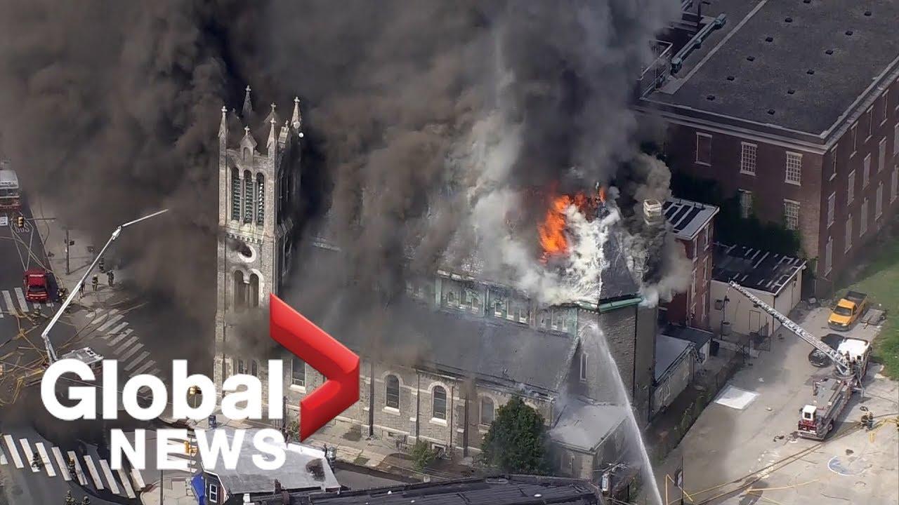 Aerial view shows massive Philadelphia church fire