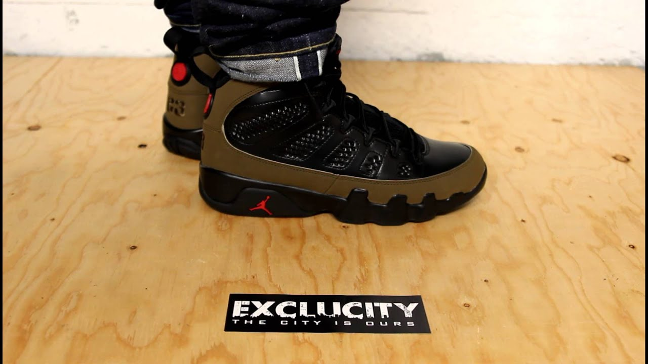 Air Jordan Retro 9 Olives On Feet Edition Exclucity
