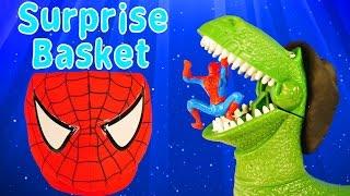 spiderman surprise basket marvel avengers batman disney pixar play doh egg superhero mashem toys