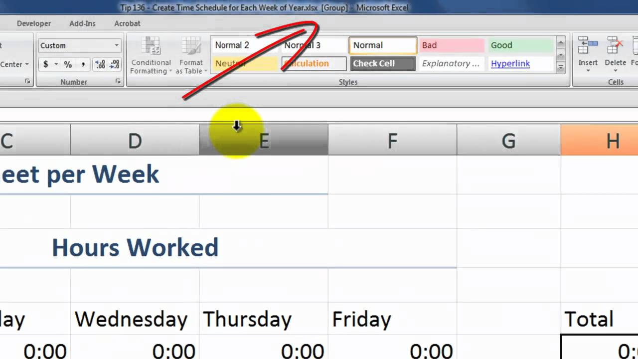 Tips To Create 52 Weeks Of Time Card Worksheets In Excel Youtube