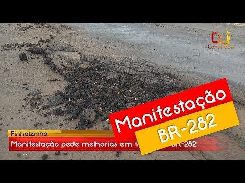 Manifestação em Pinhalzinho pede melhorias na BR-282