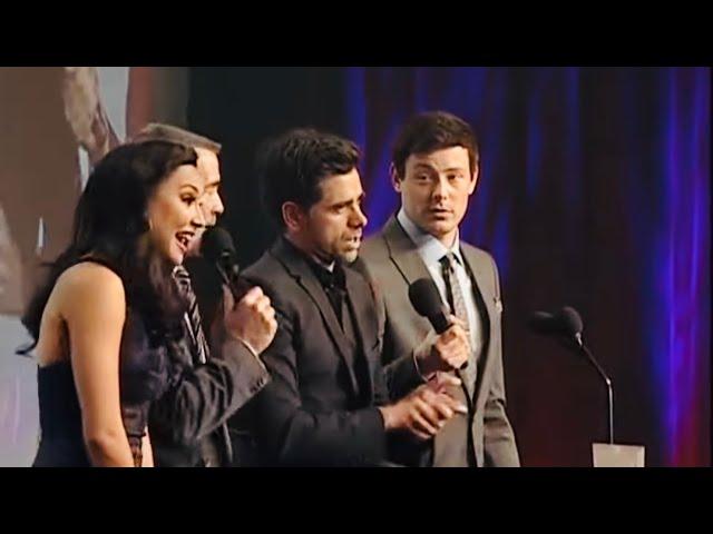"Naya Rivera, Cory Monteith & John Stamos auction off \""Sweet lady kisses\"" at the Glaad Awards."