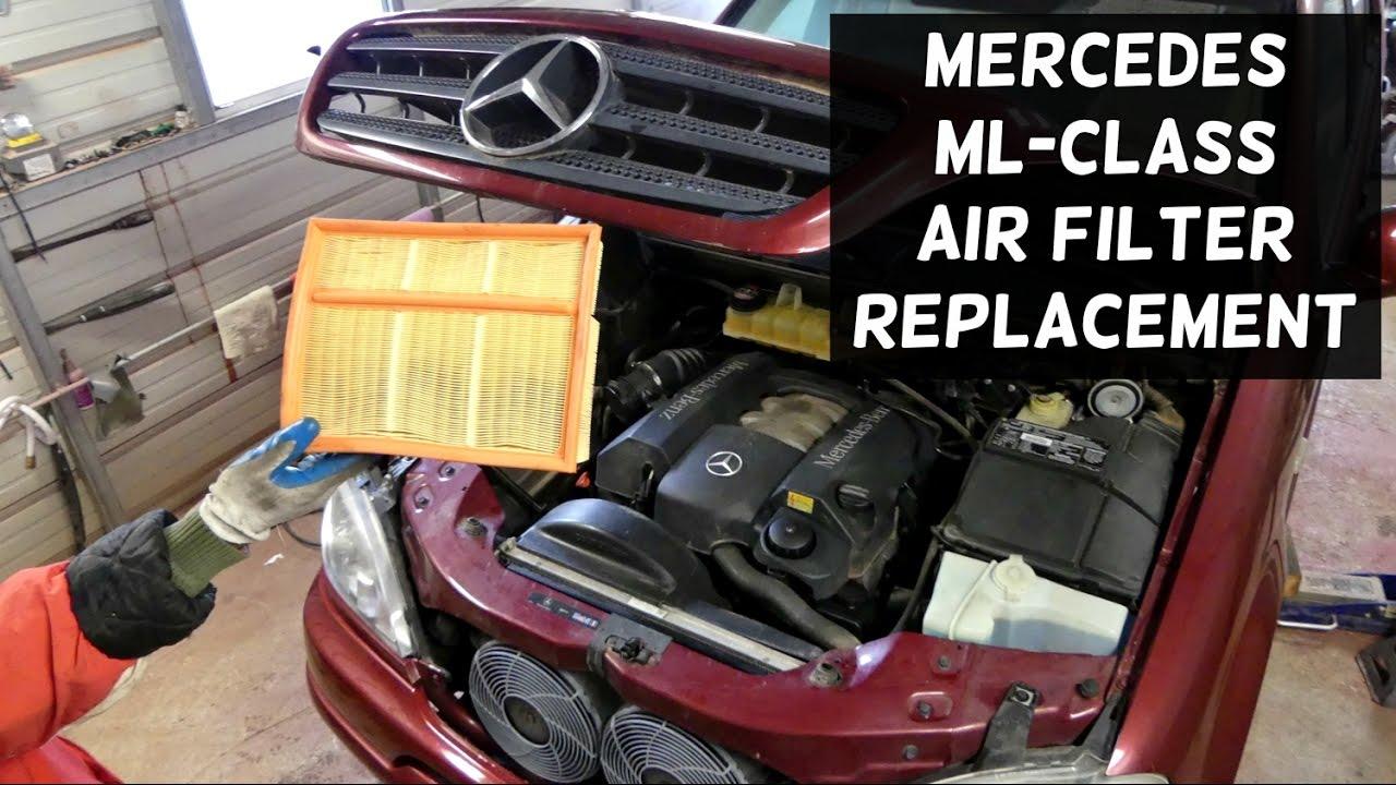 ml320 engine diagram ford alternator wiring external regulator mercedes w163 air filter replacement removal ml430 ml350 ml500 - youtube