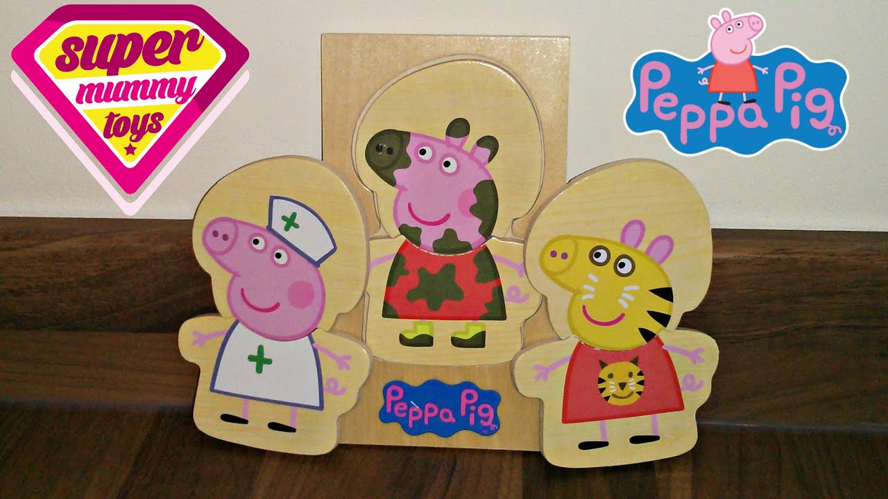 Peppa pig wooden dress up doll toy review