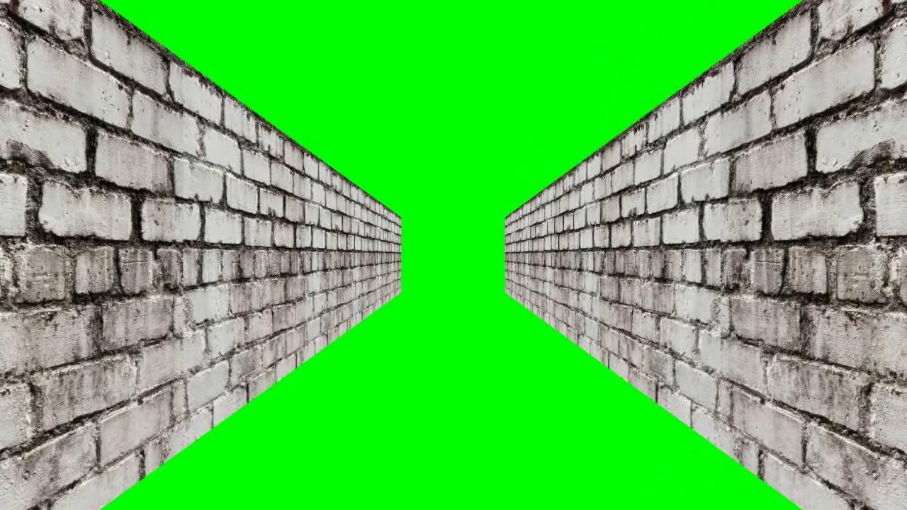 bricks wall in green screen free stock footage