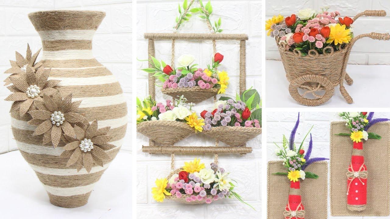 5 Jute Craft Ideas Home Decorating Ideas Handmade 3 Youtube