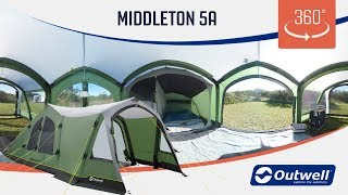Outwell Middleton 5A Air Tent - 360 video (2019)