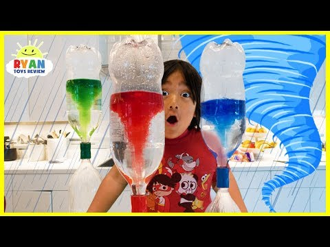 Ryan create Tornado in the bottle science experiments for Kids