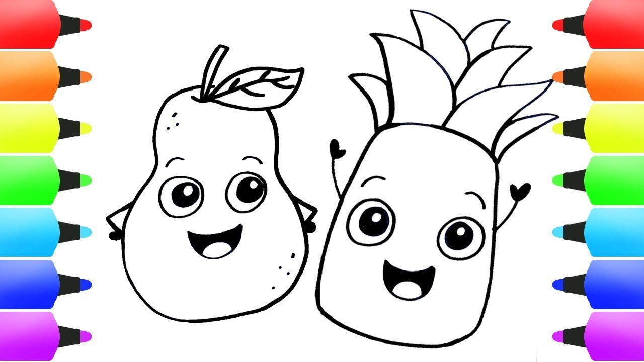 Pineapple & Fruits Coloring Pages for Children! Simple Drawings and ...
