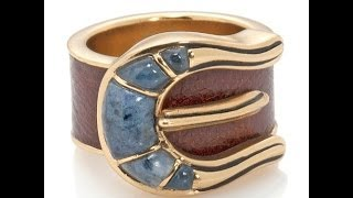 "Studio Barse Gemstone Bronze and Leather ""Buckle"" Ring"