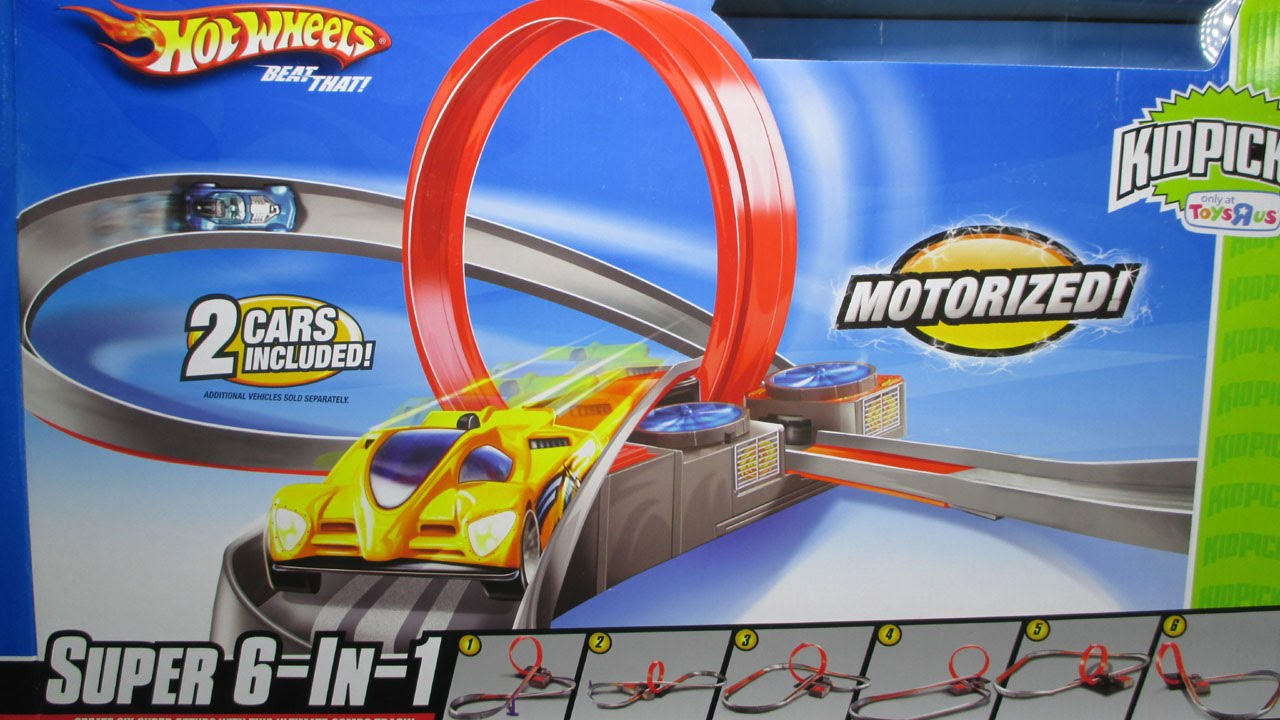 hot wheels super 6 in 1 track set with a booster loop and. Black Bedroom Furniture Sets. Home Design Ideas