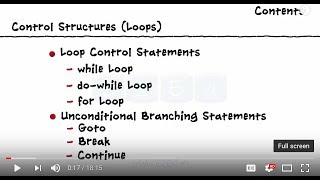 Control Structures -  while loop - do-while loop - for loop - Goto - break - continue statements
