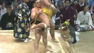 平成25年十一月場所初日 日馬富士の送り吊り落としキャンセルw sumo ...