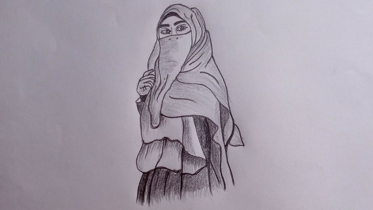 How to draw a hijabi girl a girl with hijab simple pencil sketch