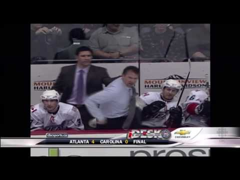 AHL's Abbotsford Heat Coach Jim Playfair Snaps Hulk Hogan Style - Mar 27th 2010 (HD)