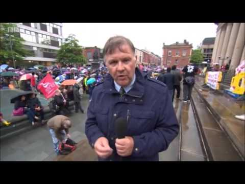 BBC Look North 6.30pm reporting before Jeremy Corbyn rally in Sheffield