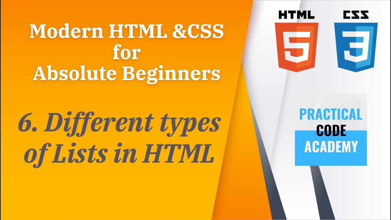 Different Types of Lists in HTML