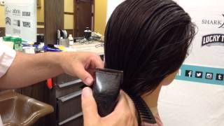 Angled bob cut curve comb clipper technique ladies mid length short