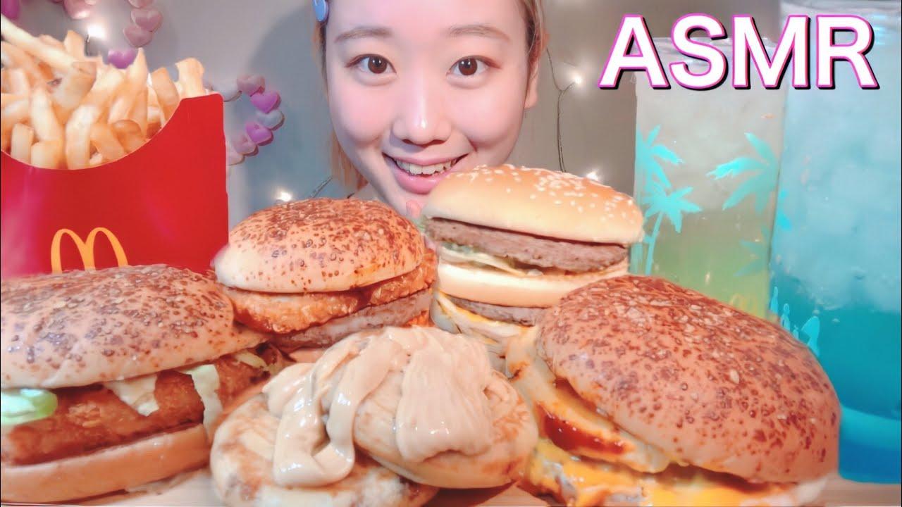 ASMR マクドナルド どこでもハワイ McDonald's Hawaiian Burger【咀嚼音/ Mukbang/ Eating Sounds】