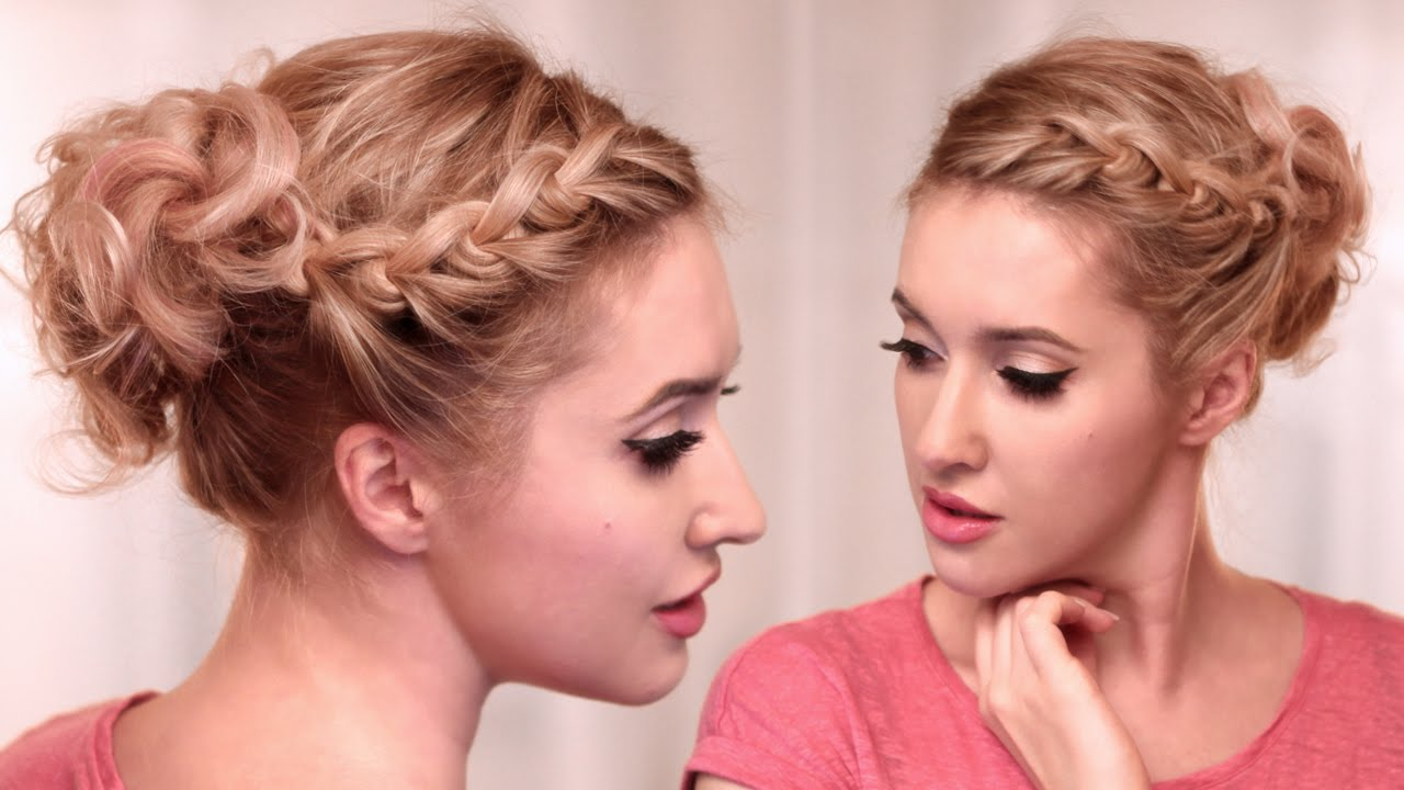 Chignon boucl et tresse des noeuds Tuto coiffure facile - Braided Hairstyles
