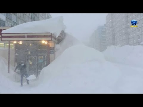 Scary weather  ! Terrible snowstorm hits northern Kazakhstan and southern Russia