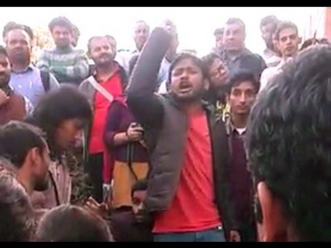 JNU students union president Kanhaiya Kumar Speech against RSS before arrested || 2016