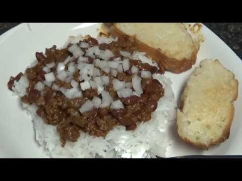 Steamed White Rice, ground beef, Chili beans meal