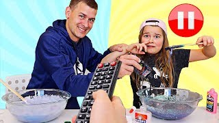 PAUSE SLIME CHALLENGE WITH OUR DAD! | JKrew
