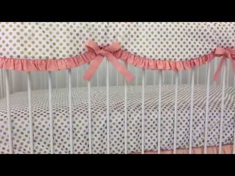 Coral and Gold Dot Baby Bedding
