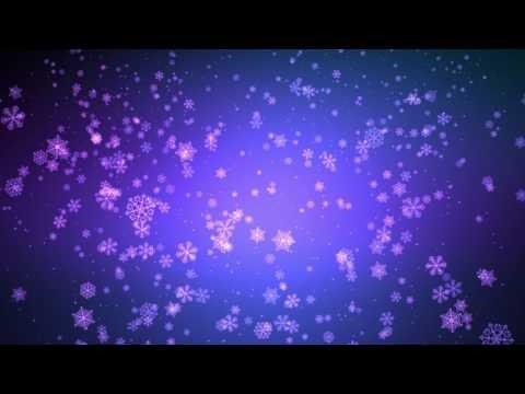 60:00Min. ♫ Blue Purple Falling Snowflakes ♫ /w Music ♫ FREE HD Background AA VFX