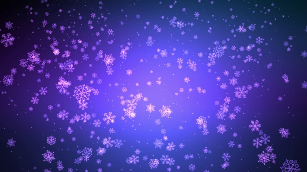 Falling Snow Animated Wallpaper 60 00min ♫ Blue Purple Falling Snowflakes ♫ W Music