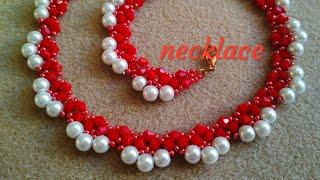 Beaded necklace - tutorial. Колье из бисера, бусин и биконусов. МК