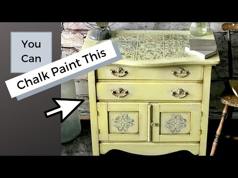 How To Chalk Paint A Stencil Old World Effect On A Vintage Cabinet With Annie Sloan Chalk Paint