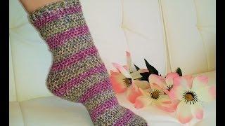 **Left Hand** Glama's Easiest His & Hers Crochet TUBE SOCKS Ever!