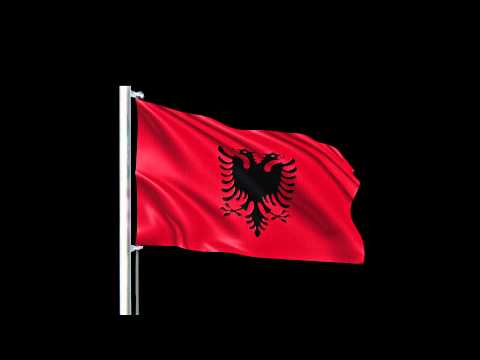 Free Motion Graphic Albania Flags  Flying in the sky On Black Background Color