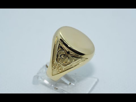 18 KT gold chevalier ring, with custom engraving.