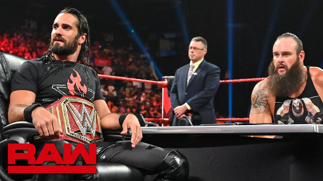 Download The O.C. interrupt contract signing between Seth Rollins and Braun Strowman: Raw, Sept. 2, 2019