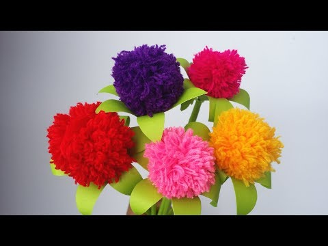 DIY: Woolen Crafts!!! How to Make Beautiful Pompom Flower With Wool/Yarn!!!
