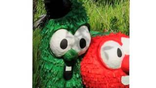 Authentic paper-mâché Veggie Tales Bob & Larry piñata