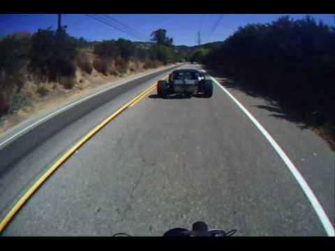 "Dual V8 canyon carving ""Priapism"" hot rod on mullholland hwy, ZB50 helmet cam"