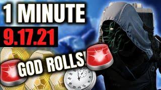 MANDATORY God Roll aт Xur, GO NOW! (Xur in 1 Minute - 9/17/21) Destiny 2
