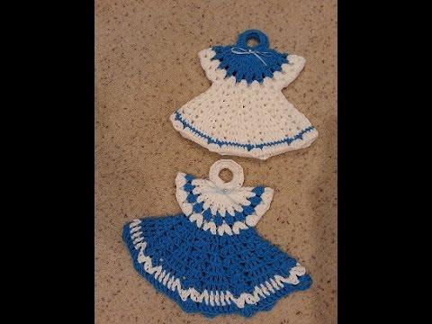 Crochet Vintage Granny Easy Dress Hot pad Potholder Anne\'s Style DIY ...