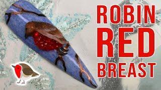 Robin Red Breast Winter Nail Art Design
