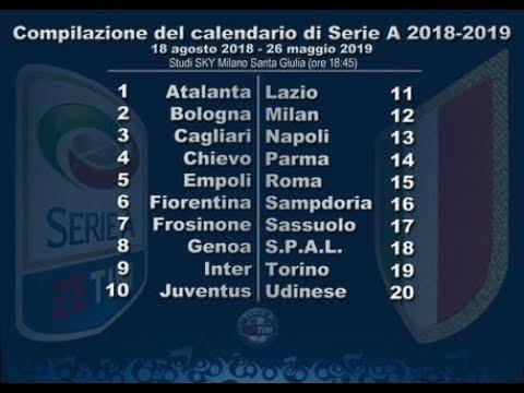 Calendario Erie A.Calendario Serie A Stagione 2018 2019 Seria A Schedule Season 2018 2019