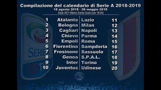 Calendario Serie A Stagione 2018/2019 - Seria A Schedule Season 2018/2019