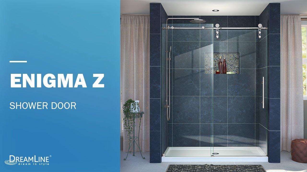 DreamLine Enigma-Z Frameless Shower Door | Sliding Opening - YouTube