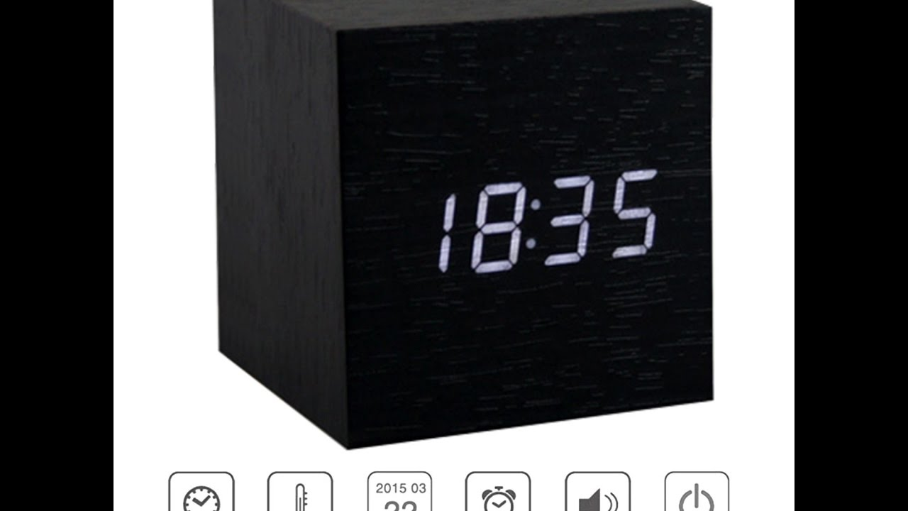 koko 7 tarjouskoodit yksinoikeudella Wooden Cube Digital LED Display Clock with Alarm and sound activation!