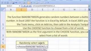 Excel Magic Trick #19: Randomly Generate Words