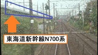 天浜線と分かれて東海道新幹線と合流する新所原駅~二川駅間を走行する東海道本線下り211系の前面展望
