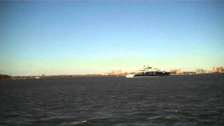 Motor Yacht Serene, Filmed 11/18/11 in NY Harbor. One of the